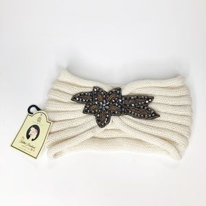 Bedazzled winter warm cream white headband NWT